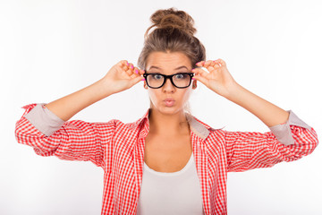 Cool funny sexy girl with glasses pouting