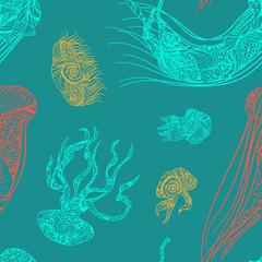 Colored jellyfish seamless pattern.