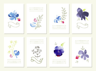 Hand drawn collection of romantic floral invitations.  Wedding,  birthday, Valentine's day. Isolated.
