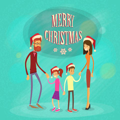 Family Merry Christmas Holiday Happy New Year, Parents With Children