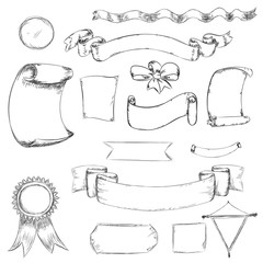 Ribbon and bow in sketch. Doodle sketch labels and shape in vect