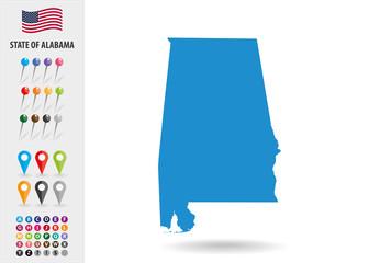 Map State of Alabama USA