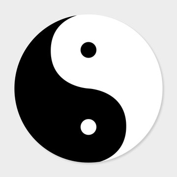 Icon of good and evil yin yang with shadow