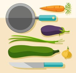 Vegetables for cooking, coloured picture.
