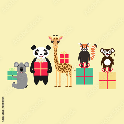 Cartoon animal characters holding gift boxes koala giant panda cartoon animal characters holding gift boxes koala giant panda giraffe red panda negle Choice Image
