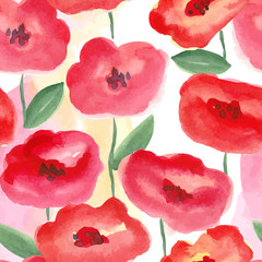 red watercolor flowers seamless pattern
