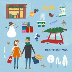Set of Christmas clipart. Vector illustration with different element in cartoon style.