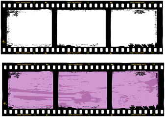 Wall Mural - filmstrips, grungy photo frames,with free copy space,vector,fi