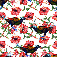 Red tropical hibiscus flowers and birds of paradise. Seamless floral pattern, hand painted watercolor. Isolated on white background. Fabric texture.