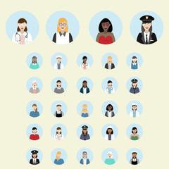 Set of woman portrait icons. Different professions. Teacher, police officer, pilot. nurse, doctor, actress.