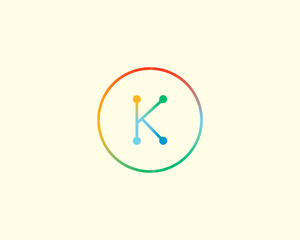 Abstract letter K logo design template. Colorful lined creative sign. Universal vector icon.