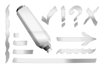 Silver pen - plus some silver signs like call sign, question mark, tick mark, arrow and underlining. Vector illustration over white background.