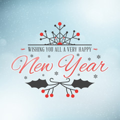 Christmas Postcard Decoration with Vintage Typographic Badge. Wishing you all a very happy New Year. Vector Illustration