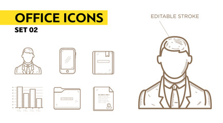 Line icons with flat design elements of office appliances - businessman, phone, diploma, folder, book and chart. Modern infographic vector logo pictogram collection concept
