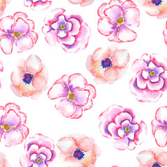 A seamless floral pattern with the watercolor tender pink spring flowers painted on a white background