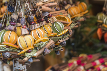 Christmas decorations made with dried fruits. Christmas garland,