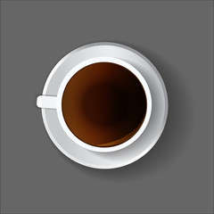 White coffee cup on a plate. Overhead point of view, view from above. Menu illustration, drinks menu. Vector image.