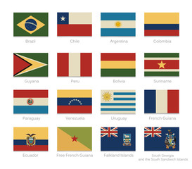 South America Flags Vintage Colors