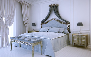 White luxury bedroom in neoclassic style