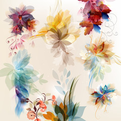 Vector set of abstract floral elements for design
