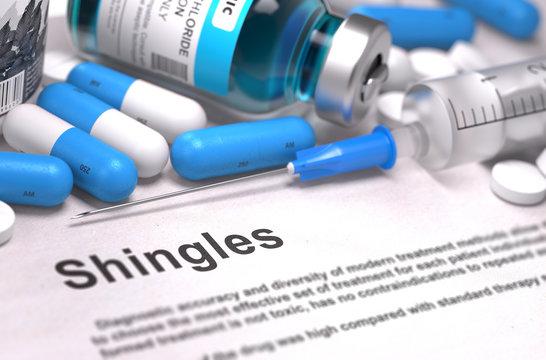 Shingles Diagnosis. Medical Concept. Composition of Medicaments.