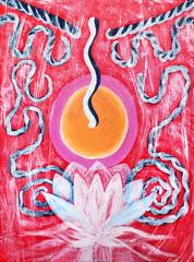 energy, chakra sign, symbol, the Lotus flower icon acrylic painting drawing, illustration design