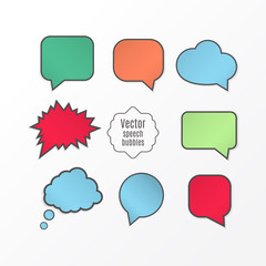 Set of colorful vector speech balloons. Message icon, design elements. Vector illustration.