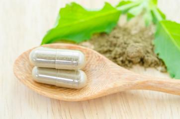 Herb capsule with green herbal leaf .