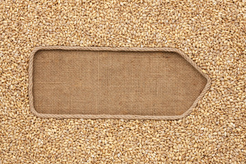 Pointer made from rope with grains pearl barley lying on sackcloth