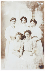 old photo  of  mother with daughters