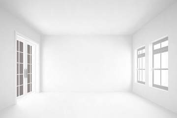 empty white room  with door&windows interior background