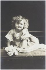 old photo portrait of baby girl
