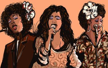 Etiqueta Engomada - Three women jazz singers