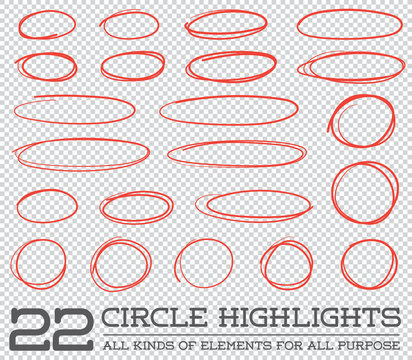 Red Hand Drawn Circles Rounds Bubbles Set Collection in Vector