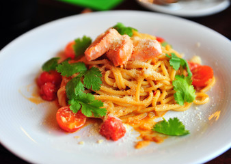 Italian pasta with salmon and cherry tomatoes