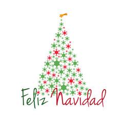 Ilustración de vector de Árbol de Navidad hecho con copos de nieve y texto Feliz Navidad en español