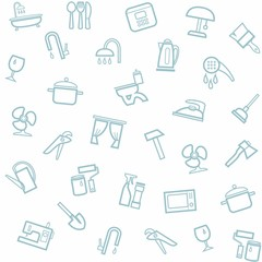 Household goods, home, background, seamless, white.