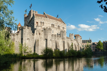 Medieval castle Gravensteen (Castle of the Counts) in Gent, Belgium.