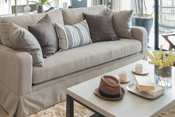 modern living room with pillows on sofa