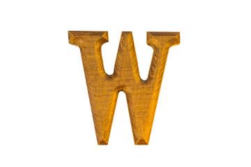 W Alphabet made from golden teak