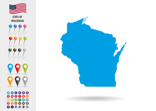 Map State of Wisconsin USA