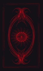 Tarot cards - back design.  Red sun