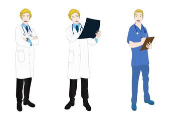 Medical Staff Full Body Caucasian Vector Illustration