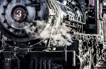 Detail of steam train engine, transport and heavy industry