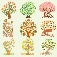 set of cartoon abstract trees
