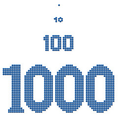 THOUSAND,HUNDRED,TEN and ONE - consisting of exactly thousand, hundred, ten and one dot - for pictorial representation of a great number of units or individuals. Isolated vector on white background.