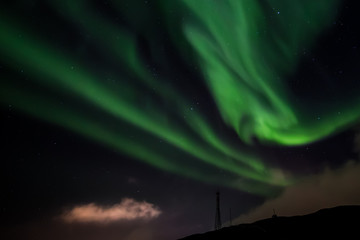 Northern lights nearby Nuuk city