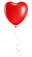 Red balloon in the shape of a heart on a white background