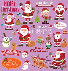 Vintage Christmas poster design set