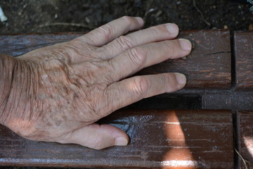 Hand. A hand of an old man resting on a bench.